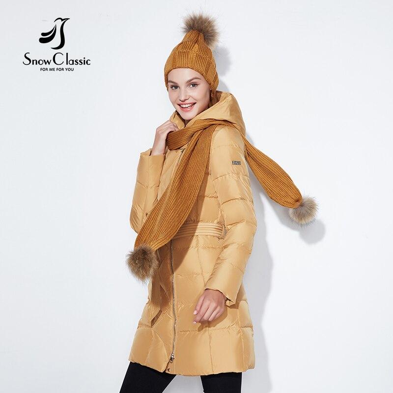SnowClassic winter jacket women free scarf hat Slim Coats Female Warm   Parka   thick Outwear soft bio down Padded Regular jacket