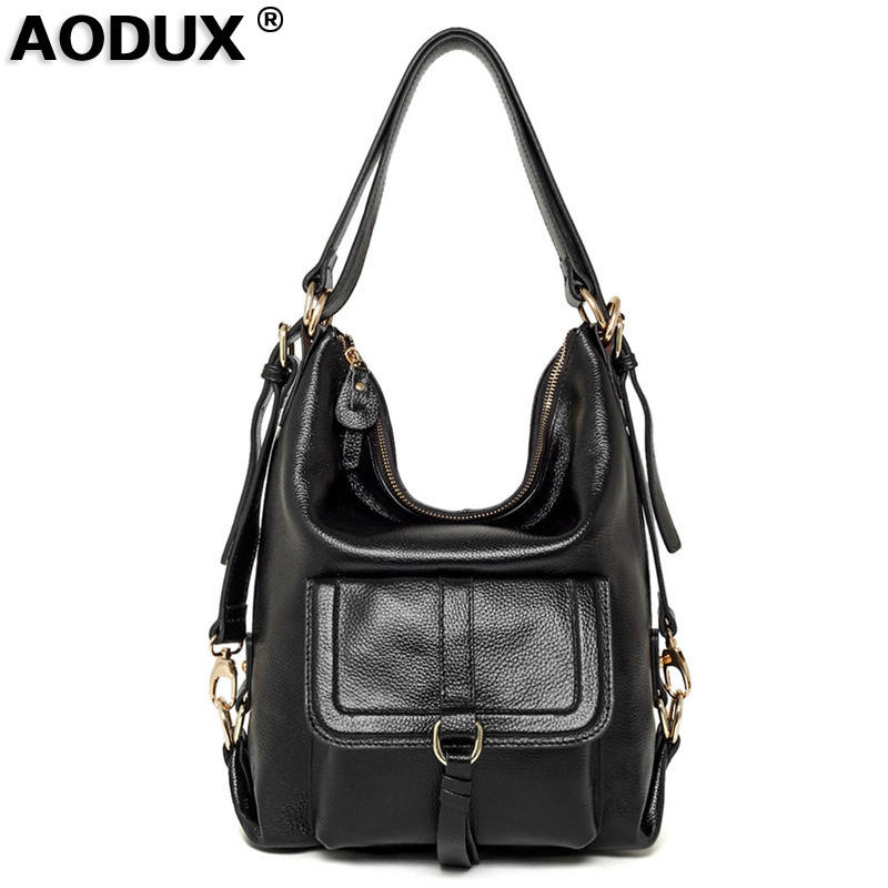 Aodux 2017 Hot Selling Fashion Ladies Hobos Classic Women Handbag 100% Genuine Leather Large Capacity Shoulder Bag Casual Simple hot sale ladies classic handbag big volume casual bag for women fashionable