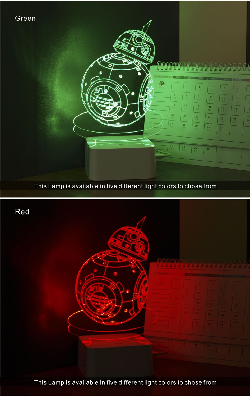 CNHIDEE USB Novelty 3D Visual Night Lights Star Wars Robort BB-8 Shaped Touch Table Desk Lamp Bubling Light as Creative Gifts (4)