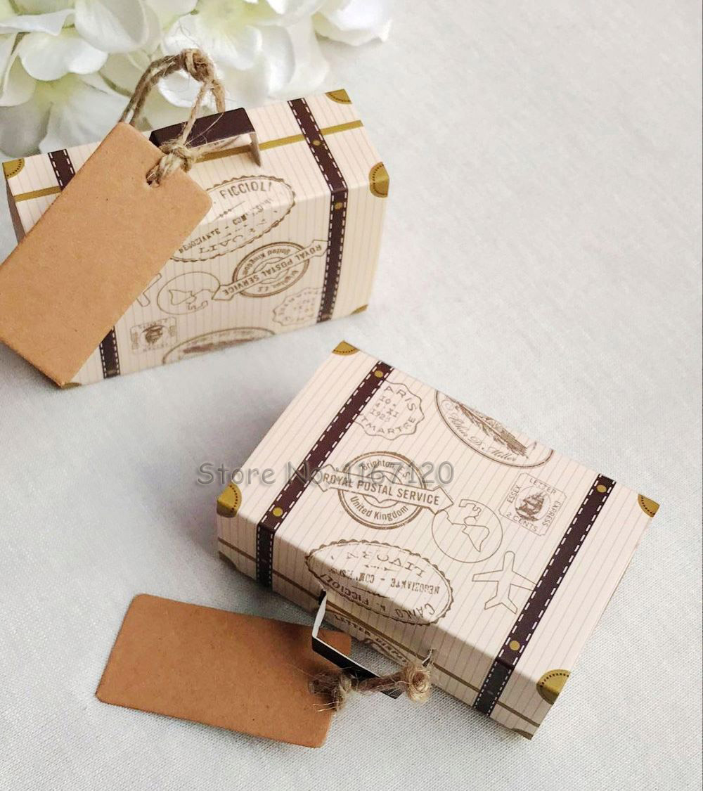 50pcs/lot Vintage Suitcase Favor Box Wedding Candy Boxes Party Gift ...