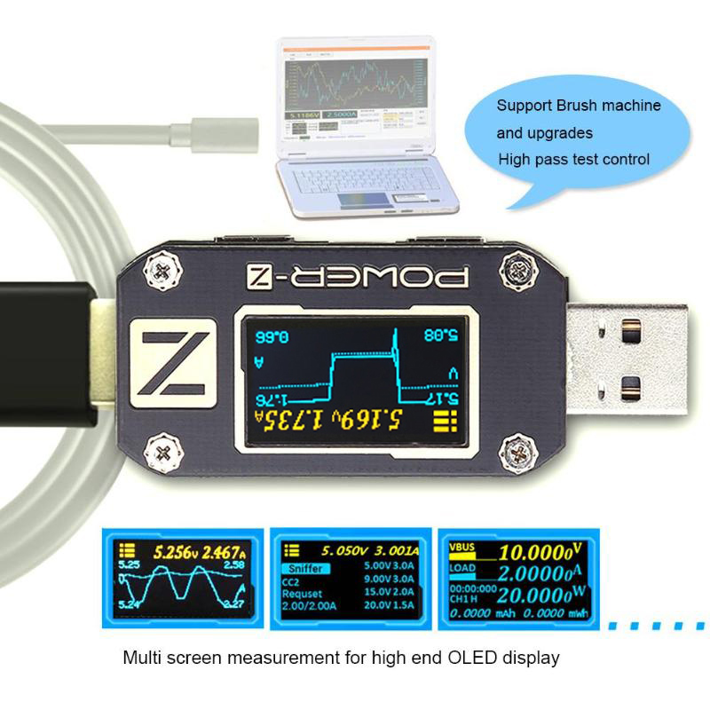 ATORCH POWER-Z USB Tester Type-c PD QC 3.0 2.0 Charger Voltage Current Ripple Dual Type-C KM001 Volt Meter Power Bank Detector