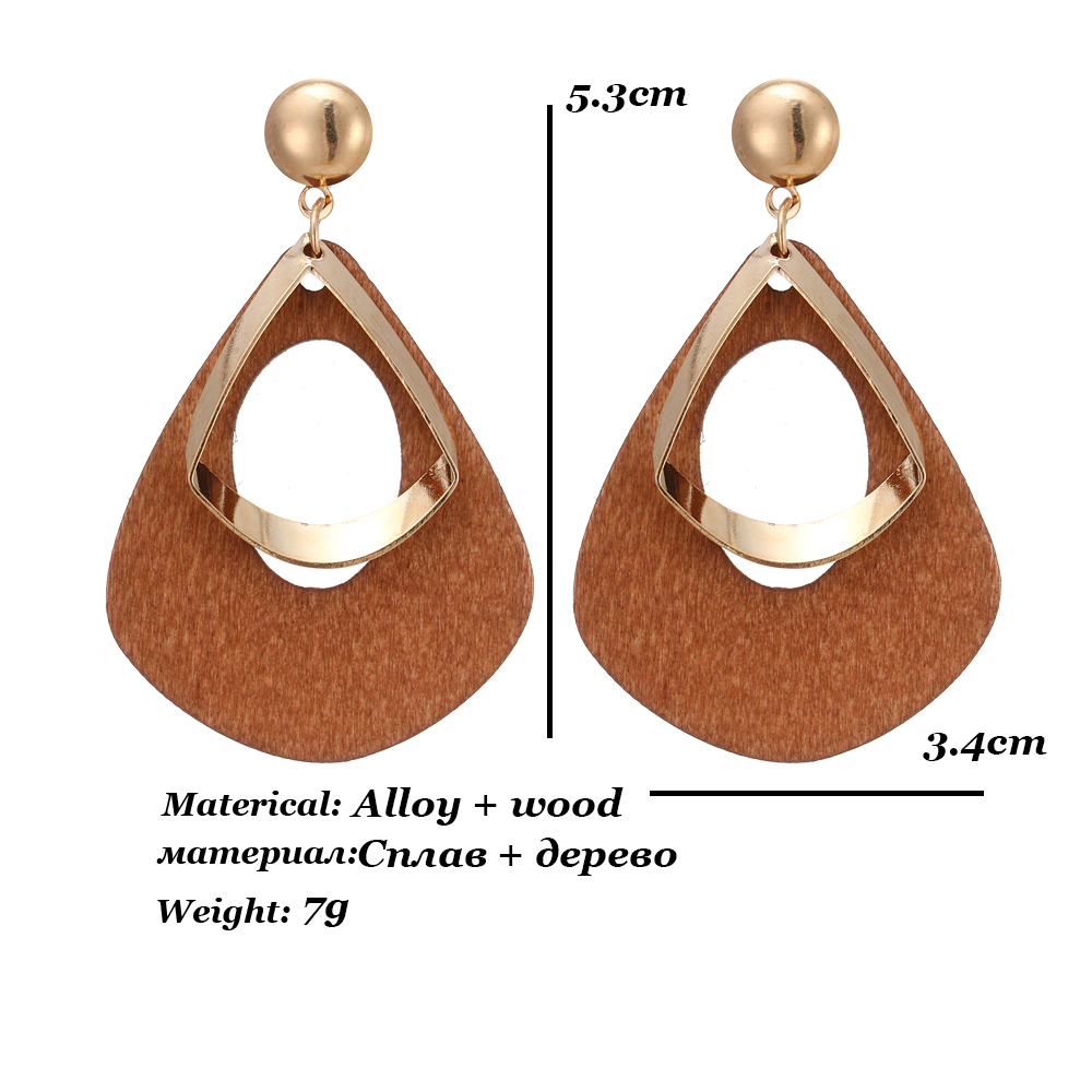 HTB1wPJ0UhjaK1RjSZKzq6xVwXXaD - Trendy Party Jewelry Vintage 2019 Women's Fashion Statement Earring Red  Brown Black Color Long Wooden Brincos Wedding Gift