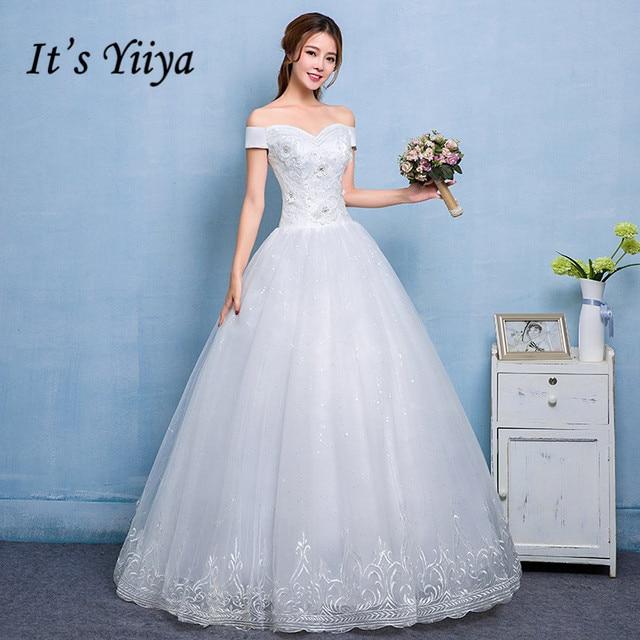 It\'s Yiiya Quality Lace Boat Neck Wedding Dresses White Princess ...