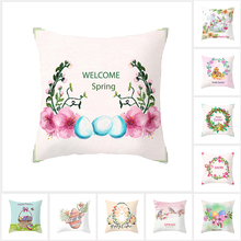 Fuwatacchi 2019 Easter Home Decor Pillows Happy Bunny Rabbit Eggs Print Sofa Throw Pillow Cases Car Spring Cushion Cover