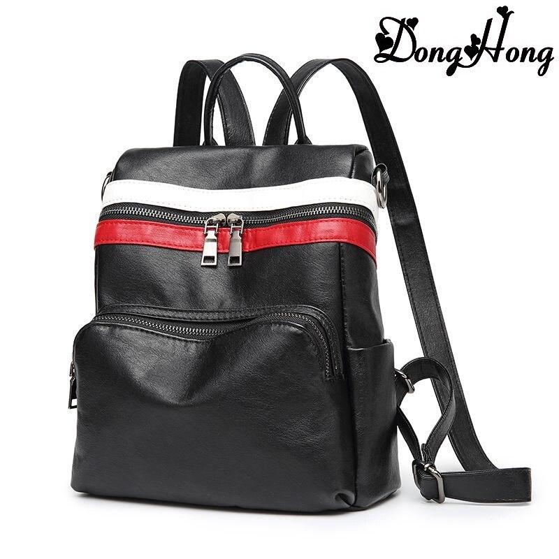 2017 New Fashion Genuine Leather Women Backpacks Vintage Shcool Bag Cowhide Shoulder Bags Solid Pattern Rucksack