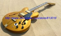 Hot ! custom made electric guitar 12 string jazz guitar gold metalic solid color yellowish pearl inlay, chrome parts!