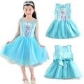 2016 Verano Nuevos Vestidos de Los Niños Para Las Niñas Vestido de Princesa Elsa Anna Cosplay Traje de Bebé Ropa de Niños Vestido Infantis