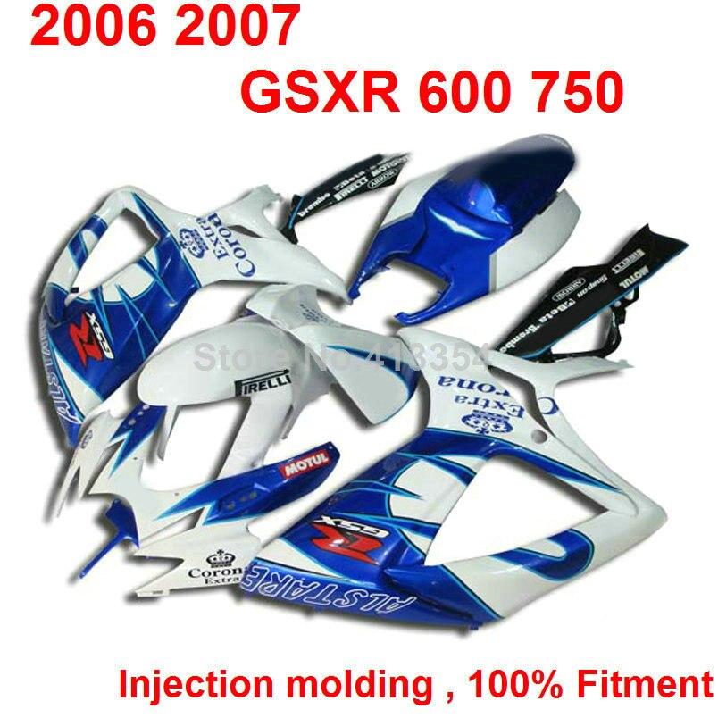 Injection font b motorcycle b font fairings for Suzuki GSXR 600 2006 2007 blue white fairings