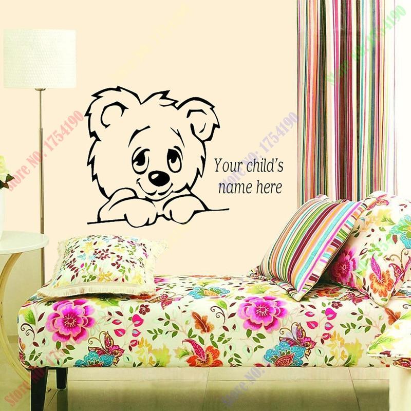 New TEDDY BEAR decal sticker custom name home decoration ...