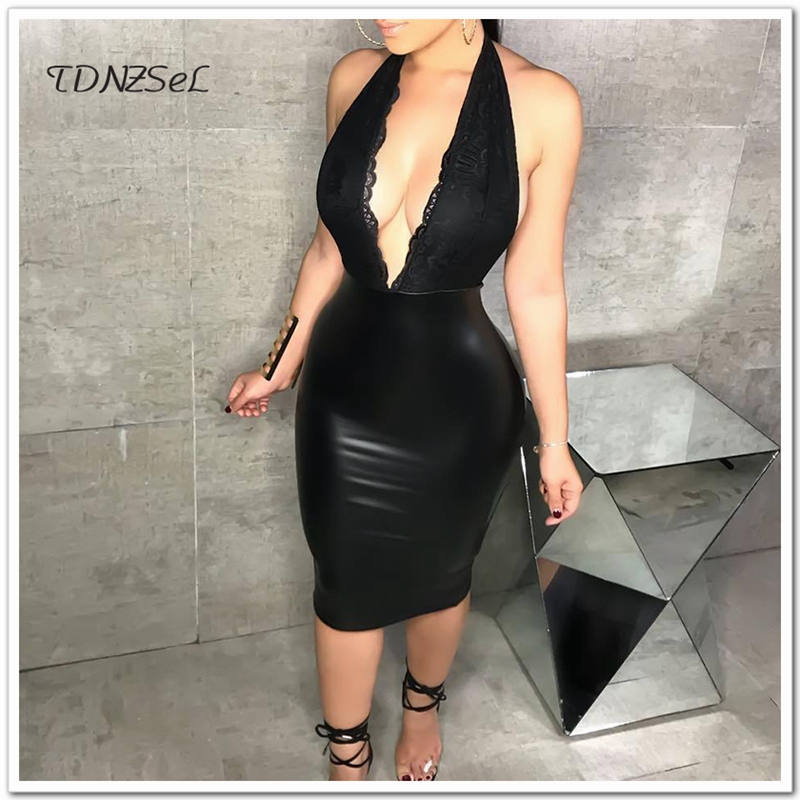 45c765b0a23 Sexy Club Halter Neck PU Leather Knee Length Dress Women Deep V Low Cut  Backless Slim Bodycon Pencil Dress Package Hip Black New