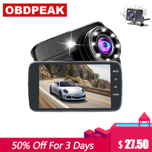 Car DVR 4.0 Inch Dash Camera 8 Led Full HD 1080P Dual Lens with Car Rear View Camera Video Recorder Auto Registrator Dash Cam topsource car dvr dual lens camera registrator 7 inch ips screen hd 1080p car recorder dash camera night vision with rear camera