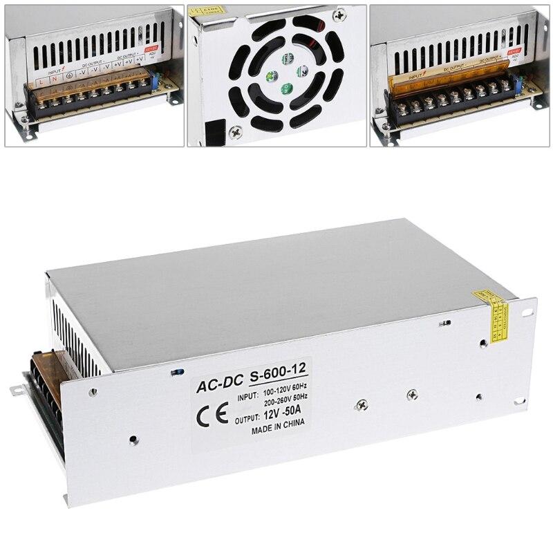 AC 100-260V To DC 12V 50A 600W Switch Power Supply Driver Adapter LED Strip Light-3Z s 60 12 nes 12v 5 amp led strip driver adapter ac dc transformer psu voltage regulator 12 v 60w switch 12v power supply 5a