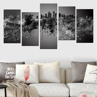 5 Panel Canvas Posters Colorful Graffiti Abstract City Wall Art Painting Modern Urban Building Canvas Print Picture for Office