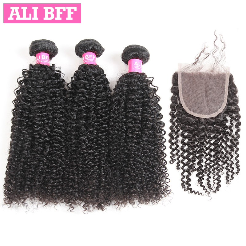 ALI BFF Peruvian Kinky Curly Hair Bundles With Closure 100% Human Hair With Lace Closure Remy Hair Weave Bundles Can Be Dyed