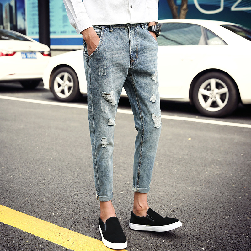 Spring 2018 New Ripped Jeans Men Ankle Length Slim Fit Hole Mens Jeans Hot Sale Casual Pants Denim Trouser Male Light Blue 28-36