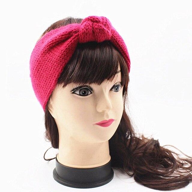Wool Knitted Headband Winter Ear Warmer Women Knot Turban Headwrap Head  Scarf Girls Hairband Headwear Hair ea2917c5dd0e
