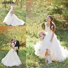 Blanco Vestido de vestidos de novia 2019 Simple elegante del hombro apliques de novia Vestido personalizado Vestido de novia Plus S