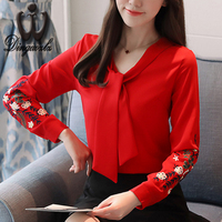 Dingaozlz 2018 New Embroidery Female Long Sleeve Korean Lace Chiffon Tops Elegant Female Stitching Chiffon Blouse
