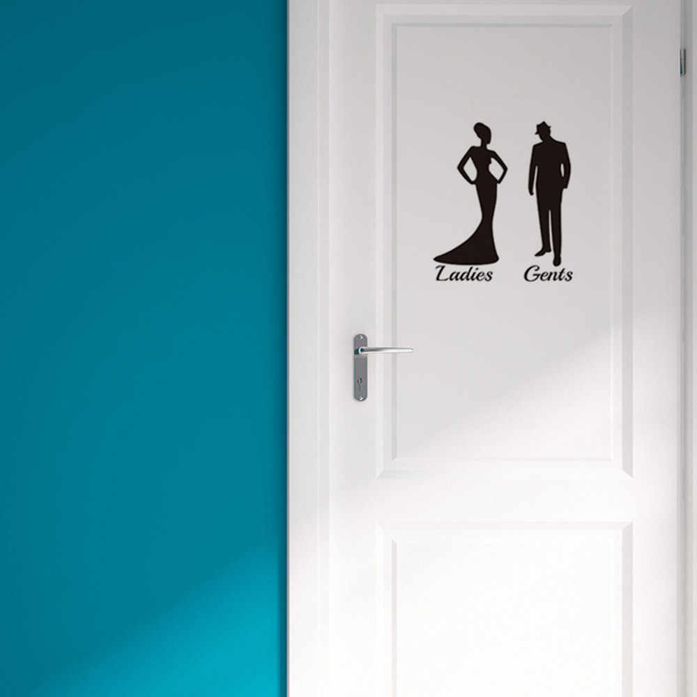 Ladies gents toilet door wall sticker fashion showertoilet door decals diy waterproof wall art vinyl removable