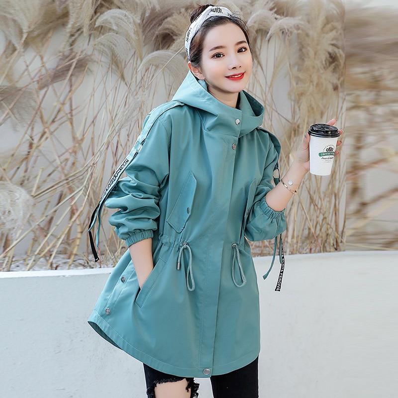 Fashion Womens Windbreakers Hooded Coat Korean 2019 Spring Autumn Black Receive Waist Ladies   Trench   coat Loose Women Outerwear