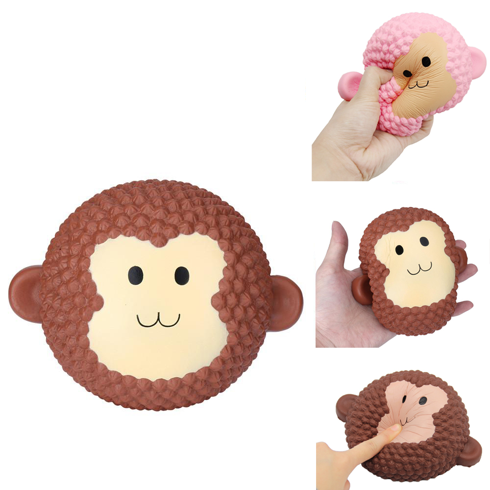 Anti-stress Big Smile Monkey Squishy Toys Cute Jumbo Cake Soft Slow Rising Food Anti-Stress Squish Toy For Kids Decorate Props