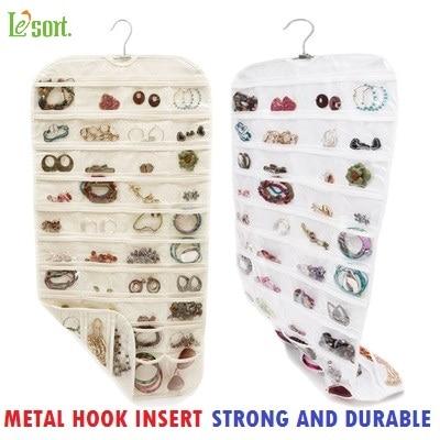 Lesort 80 Pockets Real Organizadores Organizador Hanging Jewelry Organizer Display Earring Rings Bracelets Storage Bags Hanger