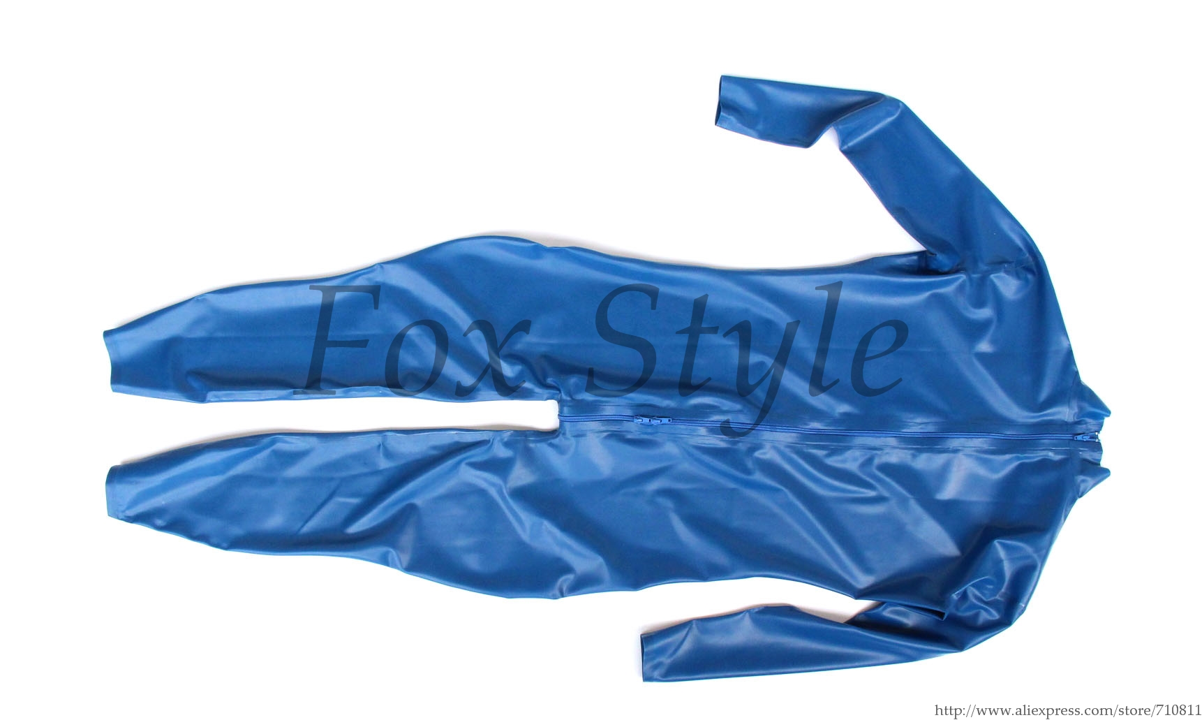 Blue classical rubber latex catsuit for males size custom back zip to front