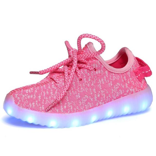 Tamaño 25-37 mosca armadura de la manera led de carga usb shoes con luz bebé hasta que brilla luminoso zapatillas tenis llevó zapatillas
