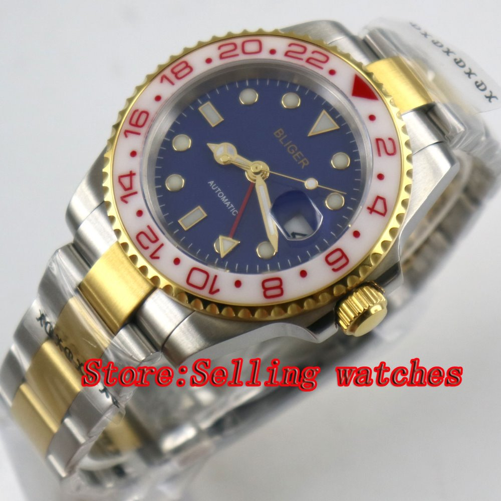 40mm bliger blue dial sapphire glass white ceramic bezel GMT date automatic men watch40mm bliger blue dial sapphire glass white ceramic bezel GMT date automatic men watch