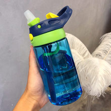 New hot Fashion 480 ml Cute Baby Water Cup Leak Proof Bottle with Straw Lid Children School Outdoor Drinking Training