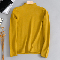 Autumn Winter Thick Curled Half high Collar Women's Sweater Long sleeved Sweater Female Simple Wild Loose Solid Inside Sweater