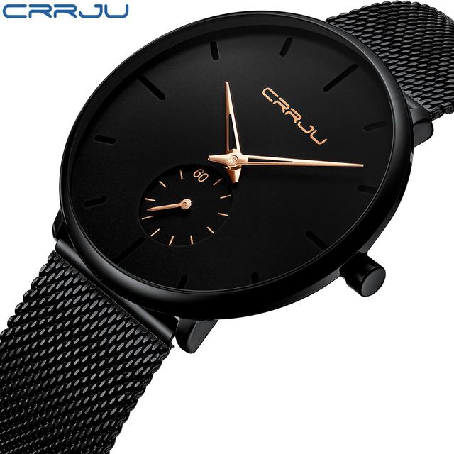 Crrju Top Brand Luxury Watches Men Stainless Steel Ultra Thin Watches Men Classic Quartz Men's Wrist Watch Relogio Masculino