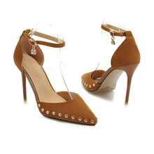 YANSHENGXIN Round Rivet Ankle Strap Womens Pointed Toe High Heels Woman Party Scarpin Stiletto Bridal Shoes Zapatos De Mujer