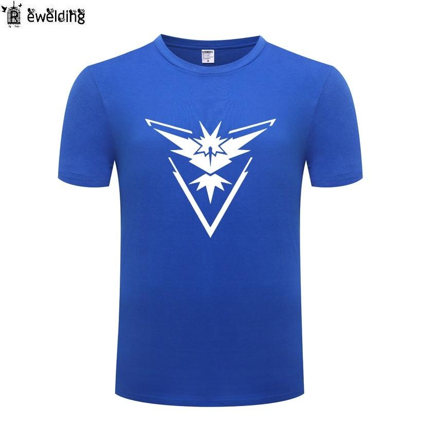 Game Pokemon Go Team Instinct Team Printed Men T Shirt New T Shirts Men Cotton Short Sleeve Tshirt Streetwear Tee Shirt Homme