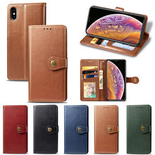 Luxury flip leather case for iPhone 7  6 6S Plus wallet card slot cover X XS Max XR 8