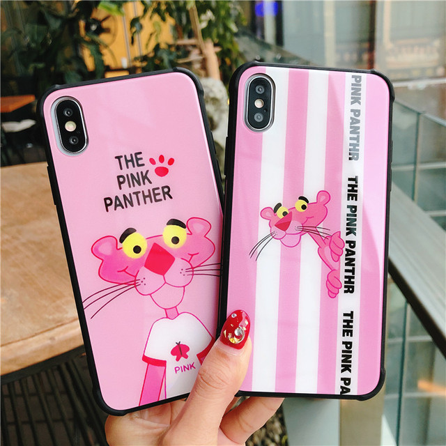 luxury Cute Pink Leopard Tempered Glass Case For iPhone Xs Max Xr X 8 7 6  6s Plus Fashion Victoria Pink stripe secret Cover f50ccd991199