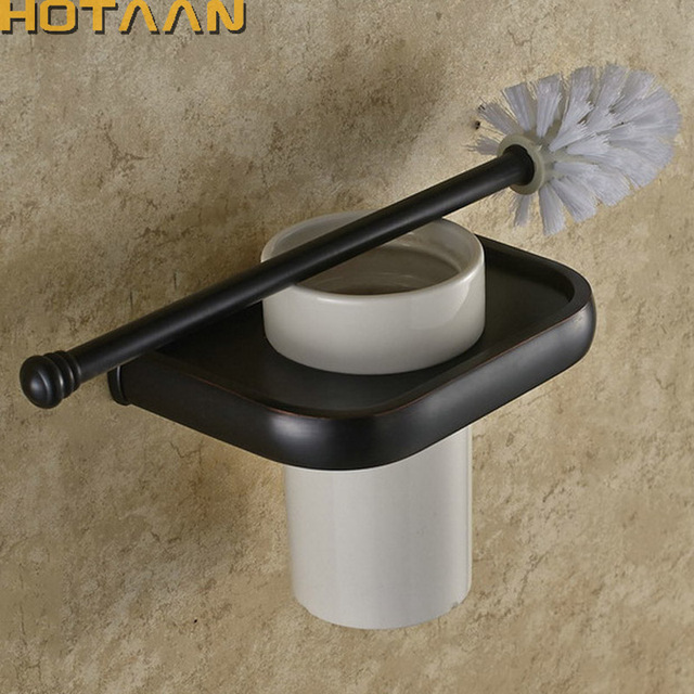 Free Shipping Oil Rubbed Bronze Toilet Brush Holder Ceramic Cup Solid Br Construction Base