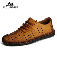 Breathable Leather Casual Shoes Men Summer Beach Loafers Slip On Design Sneakers Flat Outdoor Adult Boat