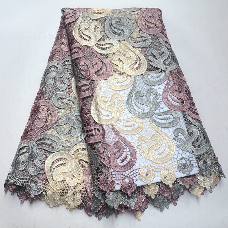 Soft 5 yards latest Beaded Guipure lace fabric 2018 high quality African cord lace with stones