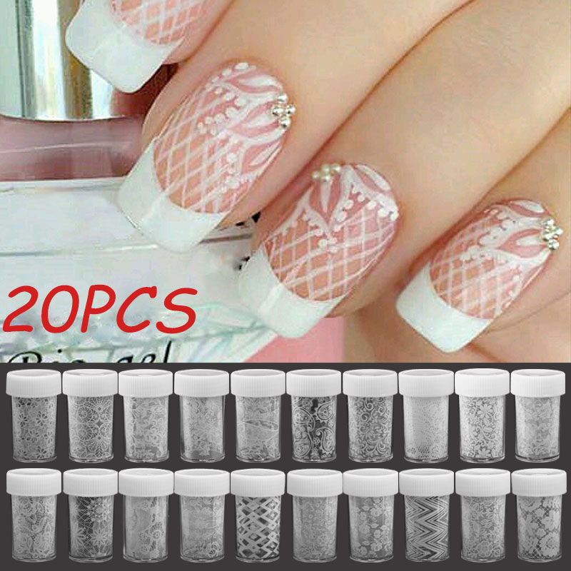 Charming Elegant White Lace Flower Nail Art Beauty Stickers Transfer Foil Nail Art Nail Salon Accessories 20 Style Foil Bottle top nail 20 rolls of laser gold silver glitter striping tape line nail art tips decals beauty transfer foil stickers for nails