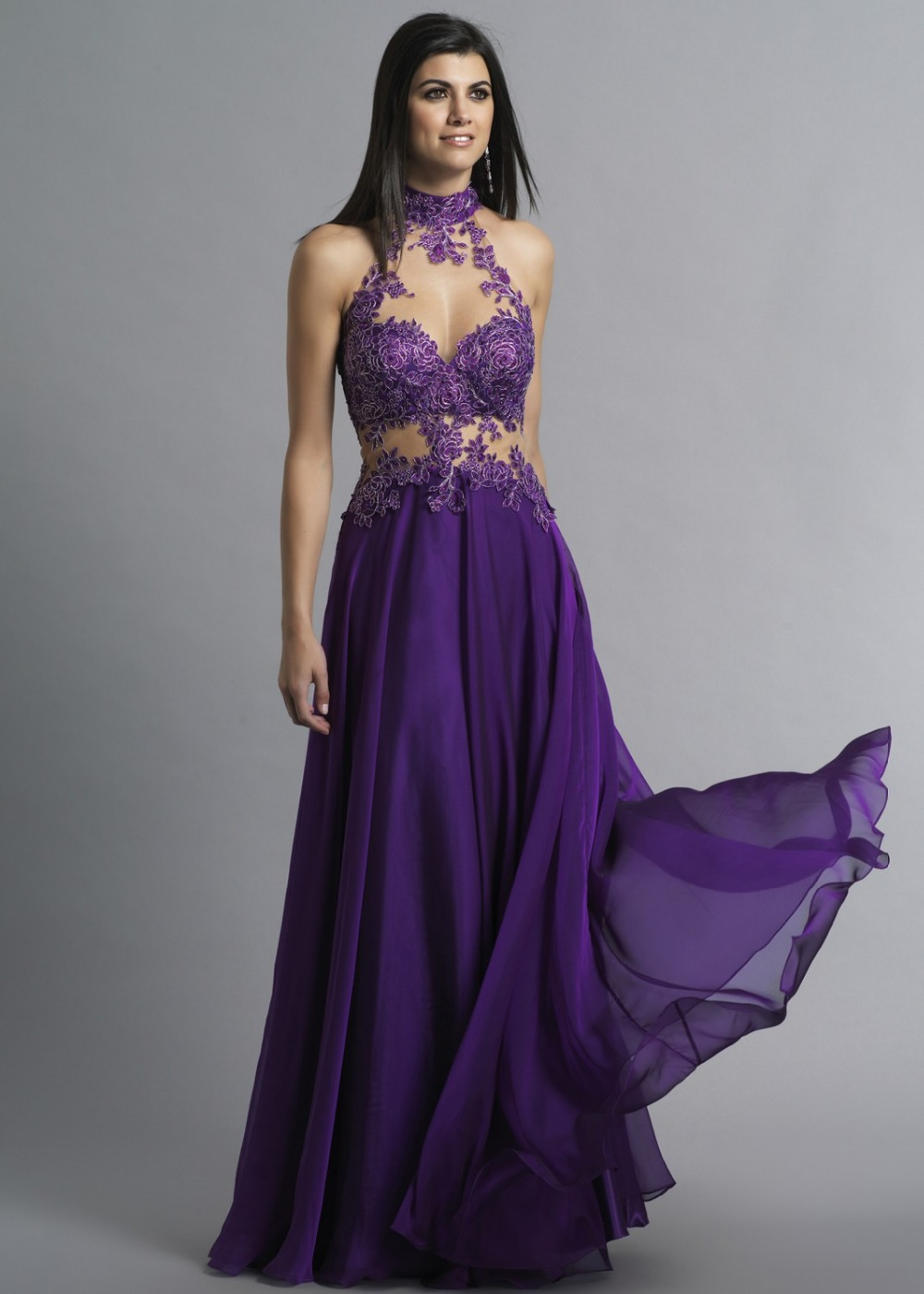 Images of Dark Purple Prom Dress - Reikian