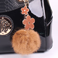 Fur Pom Pom Fluffy Real Rabbit Fur Ball Keychain Fur Key Chain Key Ring Car Women Bag Charms Plush Pendant