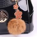 Fur Pom Pom Fluffy Real Rabbit Fur Ball Keychain Fur Key Chain Key Ring Car Women Bag Charms Plush Pendant