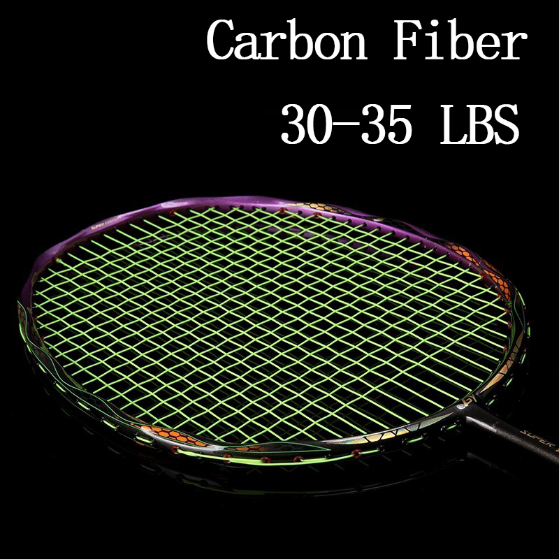 Professional 5U Carbon Fiber Badminton Racket Strung Bag Racquet Sports Offensive Type Super Light 4U Rackets String Speed Padel
