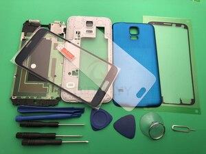 Image 4 - S5 yeni tam konut Case orta çerçeve + kauçuk conta Case arka + cam Lens için otomobil parçaları Samsung Galaxy S5 g900 i9600 + araçları