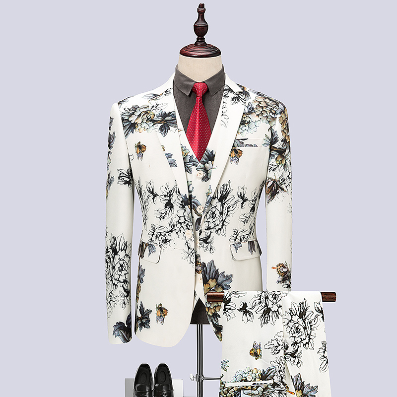 New Design Mens Beige Suits Floral printed 2018 fashion Suits sets 3 pieces Stage Singer Wedding Groom Tuxedo Costume