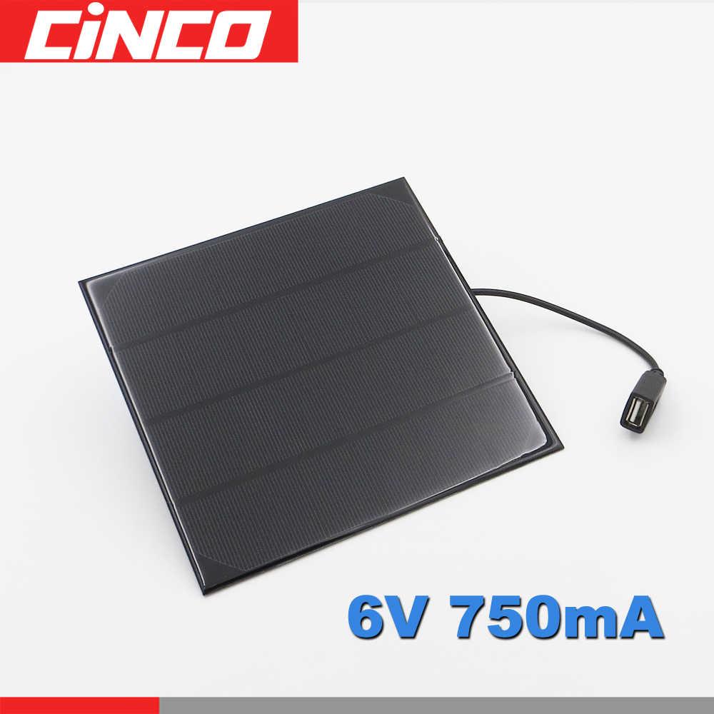 6 V 4.5 W 5 W 720mA البسيطة أحادية ألواح شمسية متعدد الكريستالات/ البلورات شاحن ل بطارية مصباح لعب الهاتف 4.5 W واط 6 V فولت USB