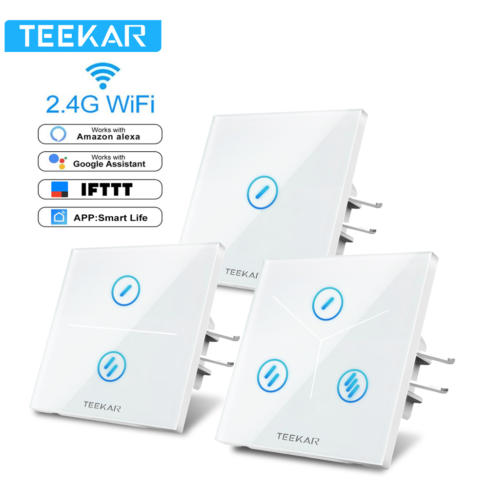 Interruptor táctil Teekar interruptor de luz inteligente Panel de interruptor de pared de 1/2/3 banda interruptor Wifi táctil trabajo estándar de la UE con Alexa Google 80*80mm