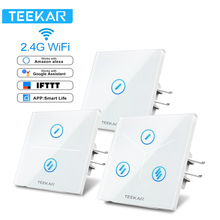 Teekar Touch Switch Smart Light Switch Panel 1/2/3 Gang Wall Touch Wifi Switch EU Standard Work with Alexa Google Home 80*80mm eu wifi smart 3 gang wall light switch white panel touch screen sensor switch for amazon alexa google home timer app function s3