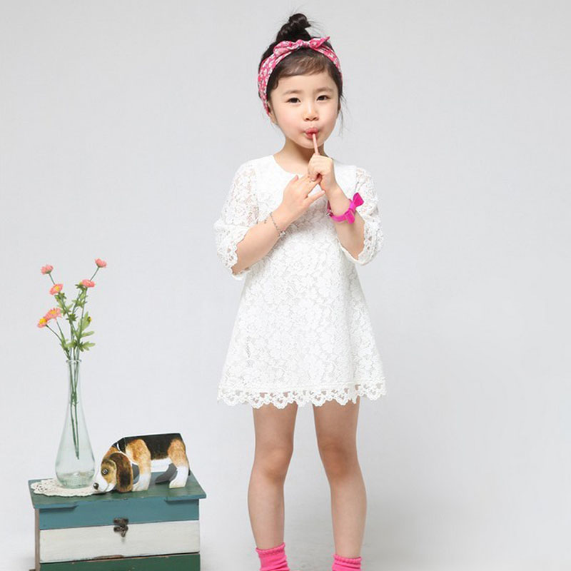 Hot sale! 2016 New Fashion Korean Children Clothing Beautiful White Girls Full Lace Dress Princess Mini Dresses Kid Baby Clothes 2016 summer fashion dresses of the girls beautiful female baby lace dress can be customized factory price direct selling